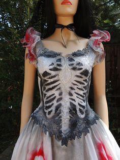 Classic Ruffled Sugar Skull Dia de los Muertos Bride by GraveyardShift13, $199.99