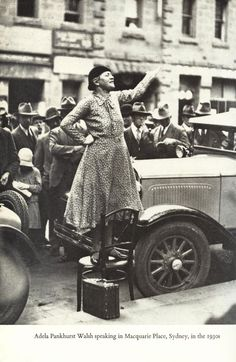 Suffragette Adela Pankhurst Walsh in Sydney, Australia She is standing on a stool. She is talking about women's rights. Sylvia Pankhurst, Emmeline Pankhurst, Famous Feminists, Art Photography Women, Photography Photos, Suffrage Movement, Divine Goddess, Brave Women, Women In History