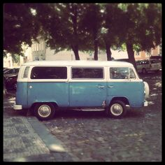 VW bus- my Dad still has his 1971 bus, same color and it's even older than I am!  The 3 grandsons will have to fight over it someday!