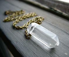 Crystal Necklace, Quartz Crystal Stone Necklace, Handmade Stone Necklace, FREE Shipping. $22.00, via Etsy.