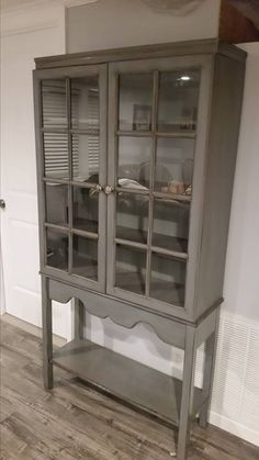 China cabinet made with a repurposed upper cabinet and hand made base