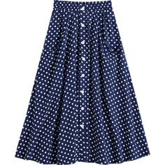Button Up Polka Dot Skirt With Pockets Dot Pattern S (€15) ❤ liked on Polyvore featuring skirts, blue polka dot skirt, blue skirt, button-down skirts, polka dot skirts and button up skirt
