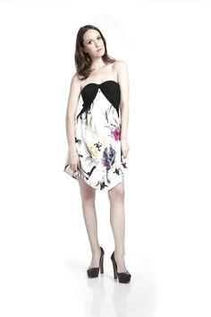 The Shayne Bow Dress- White Multi