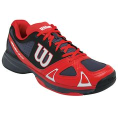 Wilson Mens Rush Evo All Court Tennis Shoes (Coal/Red/Black)