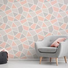 An eye-catching geometric wallpaper design in coral/grey from the Arendal Wallpaper Collection. Available at Go Wallpaper UK Mustard Wallpaper, Coral Wallpaper, Wallpaper Uk, Silver Textured Wallpaper, Coral Color Schemes, Coral Colour, Geometric Wallpaper Design, Wallpaper Companies, Paint Furniture