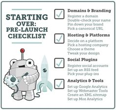 A checklist for anyone starting a blog from scratch. Starting Over, Part 1: A Pre-Launch Checklist - Moz