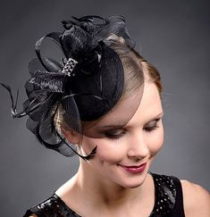 Black petite coctail hat black wedding hat black by MargeIilane