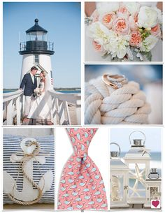 New England wedding inspiration board that is both classic and trendy with a blue, peach, cream and gray color scheme, and tons of nautical decor and details.