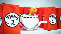 The Cat in the Hat Party 24 Cat In The Hat Guest Dessert Feature Dr Seuss Party Ideas, Dr Seuss Birthday Party, Twin Birthday Parties, 2nd Birthday Party Themes, Twin First Birthday, Kids Party Themes, Boy Birthday, Birthday Ideas, Cat In The Hat Party