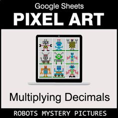 Digital Pixel Art Mystery Pictures with GOOGLE Sheets™. Your students will have fun answering questions to reveal secret pictures. Students solve the problems and type their answers in Column B. If answers are correct, the pixel art image will appear pixel by pixel here. Features of using Digital P... Multiplying Integers, Adding Integers, Dividing Decimals, Percents, Robot Picture, Addition And Subtraction, Math Worksheets, Art Images, Pixel Art