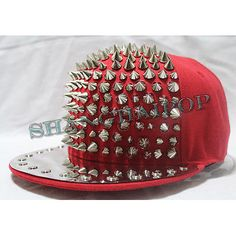 Stud Punk Spike Cap Shiny Rivet Snapback Baseball Hat Flat Peak Rock Hip Hop  New a169ebb0c7cf