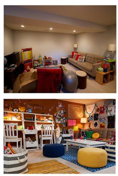 """before  - a dull, boring basement. after - divided it into """"zones"""" - a study space with desks, an art corner, and a dress up wall."""