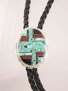 Spider Webbed Turquoise, Jet & Coral Inlay Bolo Tie for $297.00 | Native American Jewelry
