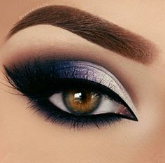 Black blue and white makeup