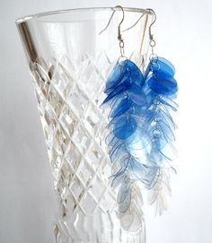 Blue long earrings made of recycled plastic bottles upcycled jewelry, eco friendly, boho, modern