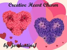 New Creative Heart Charm - Monster Tail or Rainbow Loom - Valentine's Day tutorial by Rainbow Loom Tutorials, Rainbow Loom Creations, Rainbow Loom Charms, Rainbow Loom Bracelets, Monster Tail Bracelets, Loom Board, Fun Loom, Cool Things To Make, Creative Things