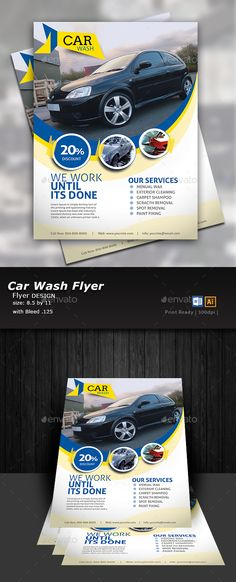 Car Wash Flyer  EPS Template #service  • Download ➝ https://graphicriver.net/item/car-wash-flyer-/17132088?ref=pxcr