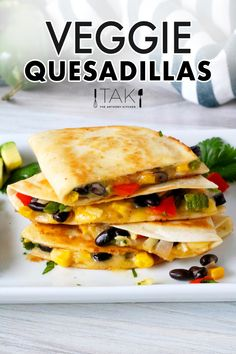 A little Southwest flair and a whole lot of easy makes this the best Veggie Quesadillas Recipe around! Black beans, corn, peppers, and onions are surrounded by a melty layer of Monterey Jack cheese, all perfectly packaged in a toasty flour tortilla and served up in handheld, dippable form! Quick and easy to make, this dish makes for a crowd-pleasing party appetizer, a healthy lunch or light dinner option!
