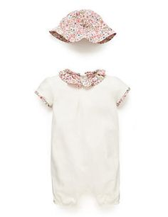 White Mix Girls Floral Trim Jersey Romper and Hat