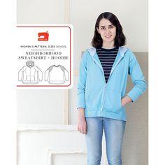 Neighborhood Sweatshirt and Hoodie Liesl and Co Sewing Pattern. Size XS-XXL.