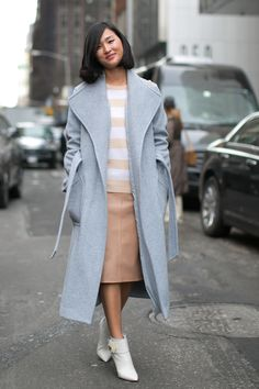Nicole Warne kept calm and carried on in her soft pastels. Street Style at New York Fashion Week #NYFW