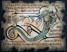 Cthulhu larp Rlyeh Text Necronomicon page Scroll Magick occult witch.