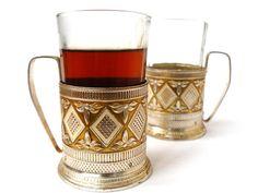 vintage set of 2 Glass Holders metal glass  by nostalgishop