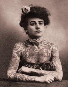 Tattooed Lady Vintage Circus Image. 11x14 Vintage Circus Photograph