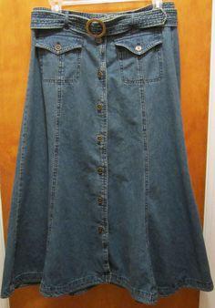 JONES NEW YORK Womens Size 8 ANKLE LENGTH MODEST DENIM Skirt With Matching Belt #JonesNewYork #ALine
