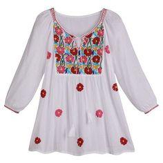 Women's Poppy Cascade White Peasant Tunic Top