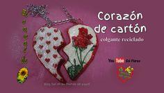 Corazón de cartón, colgante reciclado - Cardboard heart pendant recycling