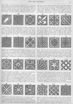 Chart discussing common medieval tile designs. From a 19th century Appleton's Art Journal.
