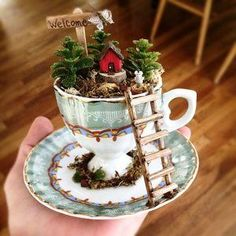 DIY Fairy Garden Design and Accessories- DIY Fairy Garden Design and Accessories I . - DIY Fairy Garden Design and Accessories- DIY Fairy Garden Design and Accessories I am addicted to t - Teacup Crafts, Teacup Decor, Tea Party Theme, Party Themes, Beach Gifts, Selling Handmade Items, Deco Originale, Miniature Fairy Gardens, Indoor Fairy Gardens