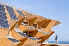 IAAC: endesa solar pavilion, Barcelona, Spain: even if the spaces originated inside by the triangulation of the facade are most times, unusable, it could certainly as an efficient facade not only for placement of solar panels but also windows protected from direct sunlight when necessary.