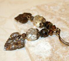 Leaf earrings Brown earrings dangle by CharmingLifeJewelry on Etsy, $15.00