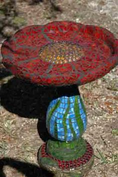 Red Flower Birdbath by Debbie's Mosaics, via Flickr    I