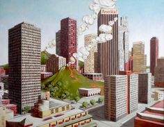 Large painting, oil on canvas. Signed. Imaginary urban landscape
