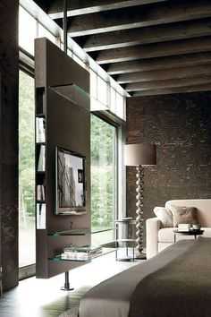 8 Miraculous Useful Ideas: Room Divider Bookcase Basements room divider plants inspiration.Room Divider Loft Ceilings room divider with tv house. Contemporary Tv Stands, Contemporary Floor Lamps, Modern Contemporary, Modern Interior Design, Interior Architecture, Modern Interiors, Sliding Room Dividers, Living Spaces, Living Room