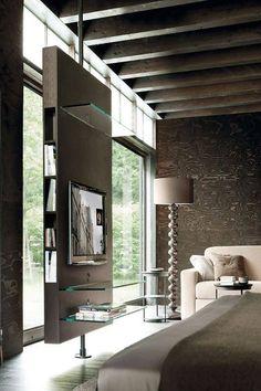 Voorbeeld ruimte verdeler  Idee voor scheidingswand speelkamer/huiskamer? L: Mooie wand, open boven/onder maakt het nog wat opener, maar kan je er niks tegenaan zetten