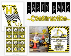 Construction Birthday Invitation with Party Decor  by PuggyPrints