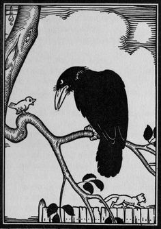 "Crow and Canary: Boris Artzybasheff illustration from ""Verotchka's Tales,"" by Dmitry Mamin-Sibiryak (1922)"