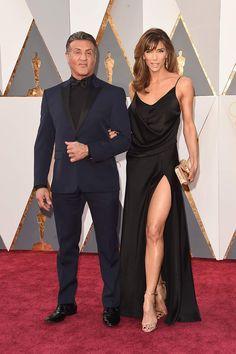 Vélez for Leather Lovers   Sylvester Stallone y Jennifer Flavin   Premios Oscar 2016