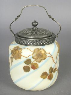 Mt Washington Crown Milano Biscuit Jar - Mold Blown Diagonal Blue Stripes with Gold Flowers and Vines - 6 inch HOA
