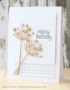 Glittered die-cut card with sequins, by Debby