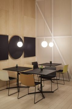 Restaurant at #Arper with Catifa 53 in new matte colors, new #Wit tables and…