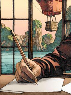 Fine Art and Illustration, recent work and publications by Paris-based American artist Miles Hyman. Art And Illustration, Illustrations And Posters, Kunst Inspo, Art Inspo, Fantasy Kunst, Fantasy Art, Anime Kunst, Anime Art, Ligne Claire