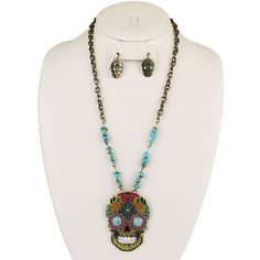 New SUGAR SKULL Turquoise Chip WOMEN'S Necklace & Earring SET Western - BRONZE