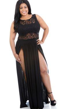 1b561bc207f Women Summer Clothing Plus Size White Black Lace Dress Double Split Sexy  Clubwear Maxi Dress Long