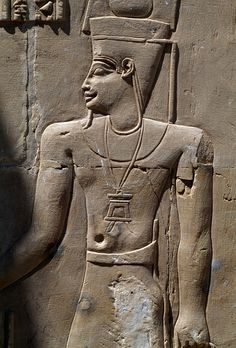 Relief from the Temple dedicated to Amun, Mut and Khonsu, Deir El-Hagar, Dakhla Oasis, Libyan Desert, Egypt, Egyptian civilization, Roman period, 1st century BC, Detail