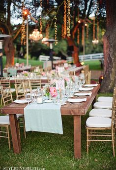 table settings, white lights, pink wedding flowers, pink weddings, mint, table runners, outdoor weddings, bridal showers, outdoor receptions